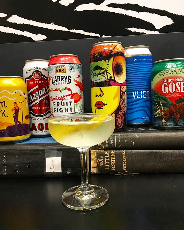Cocktail with beer cans