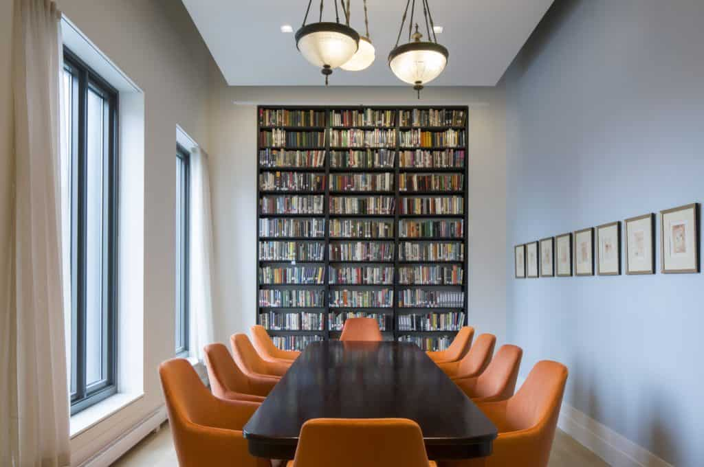 Orange Room table and bookcase
