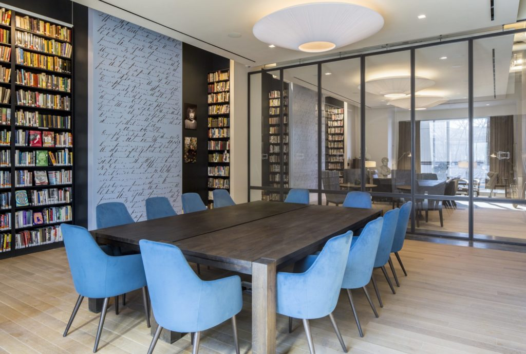 Reading Room blue chairs and glass partition