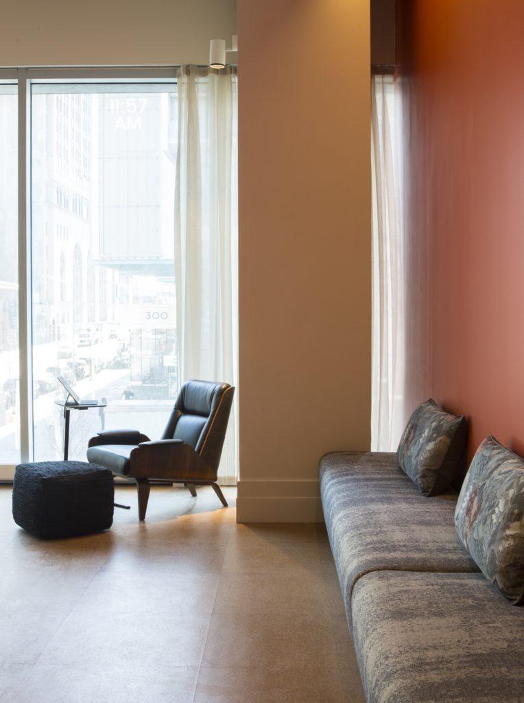 Writer's studio bench and single armchair