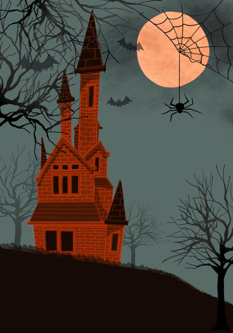 Illustration of a castle at night background for Halloween